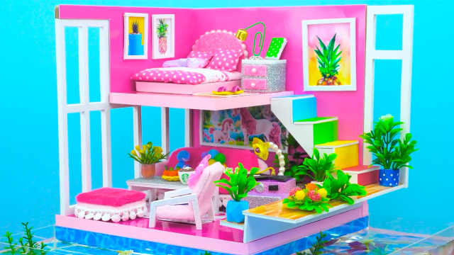 DIY迷你娃娃屋,鱼塘环绕的粉色小别墅