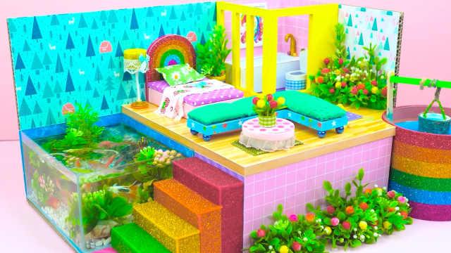 DIY迷你娃娃屋,森林中的小木屋