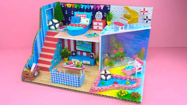 DIY迷你娃娃屋,船锚主题的沙滩别墅