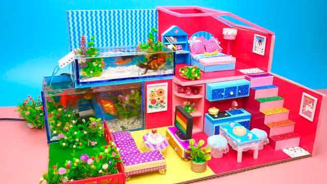 DIY迷你娃娃屋,水族馆设计的红色别墅