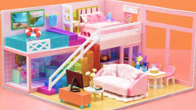 DIY迷你娃娃屋,粉红色的泳池公寓