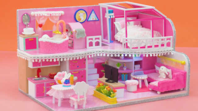 DIY迷你娃娃屋,小白兔的粉红小别墅