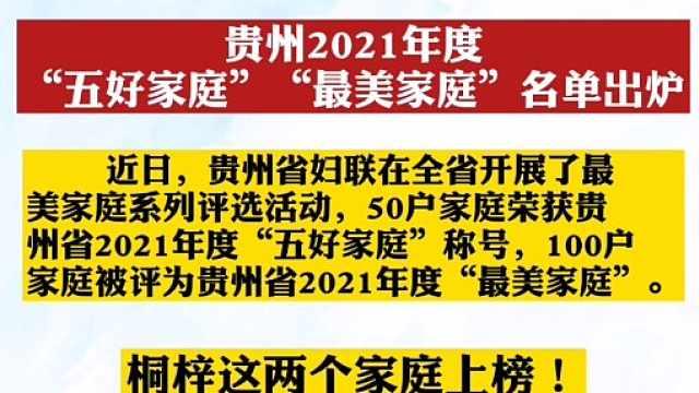 """贵州2021年度""""五好家庭""""""""最美家庭""""名单出炉"""
