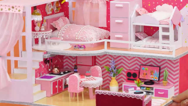 DIY迷你娃娃屋,小宝贝的粉色二层公寓