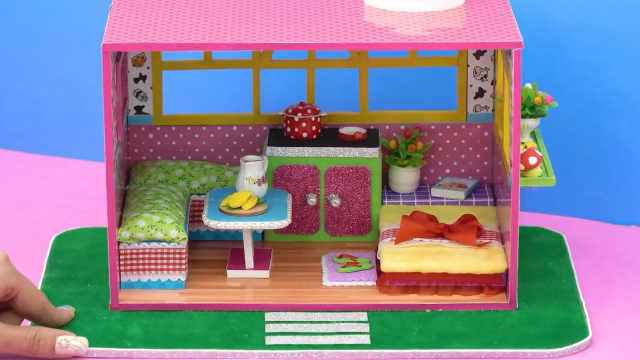 DIY迷你娃娃屋,简洁的长方形小屋