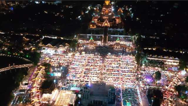 航拍东南亚最浪漫夜市:3千多摊位,百余家影楼,5百多摄影师