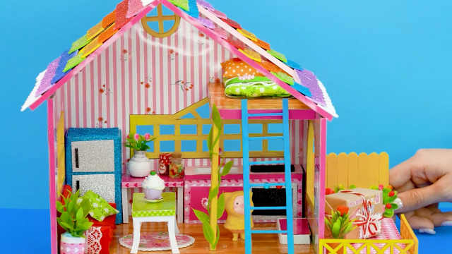 DIY迷你娃娃屋,小猪猪的彩虹色小木屋