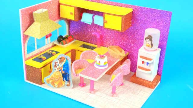 DIY迷你娃娃屋,贝儿公主的幸福小厨房