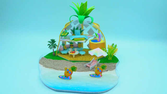 DIY迷你娃娃屋,沙滩边的菠萝形度假别墅