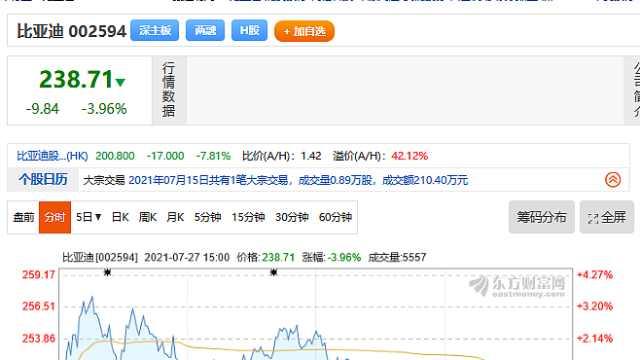 比亚迪股价连续两日下跌
