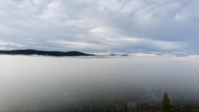 云海如波浪翻滚!延时拍摄内蒙古初秋早晨湿地公园,宛如仙境