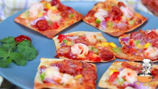 世界上最小的披萨,是用馄饨皮做的