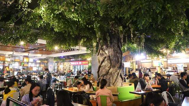 郑州高校现森林食堂 学生树下就餐