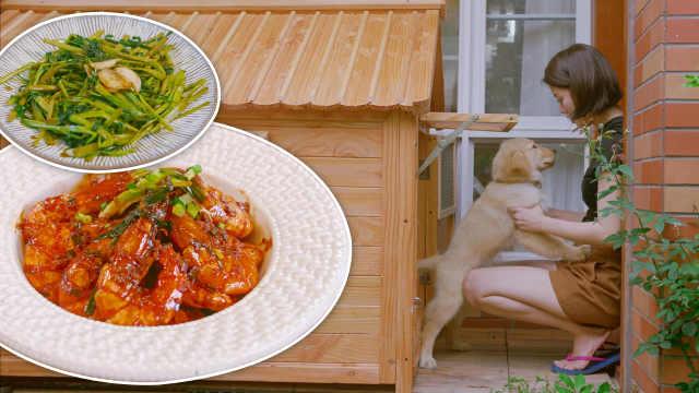 采摘亲手种的菜,炒个油焖大虾加餐