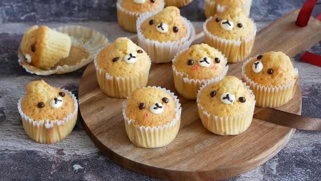 清爽美味的小熊蛋糕杯,蜂蜜柠檬味