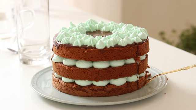 自制巧克力薄荷蛋糕,清爽美味甜品