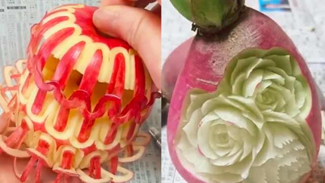 会玩!日本艺术家用蔬果雕刻创作
