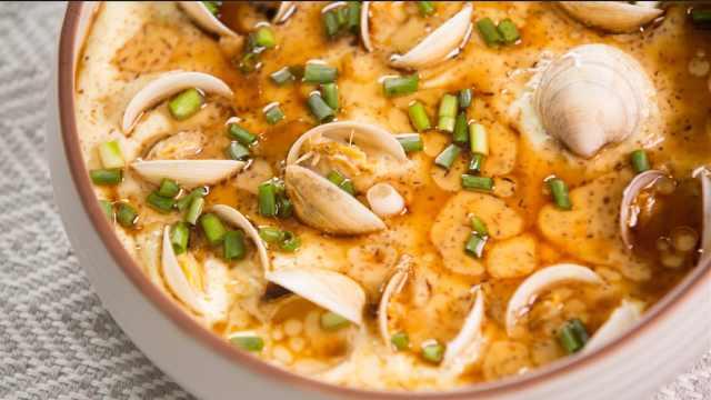蛤蜊蒸蛋,在家也能享受到的美味!