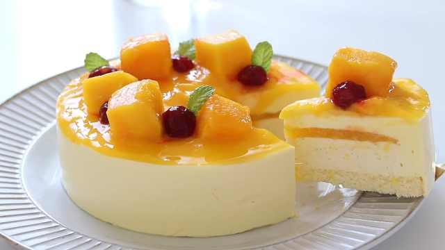 不用烤箱做香甜美味的芒果慕斯蛋糕