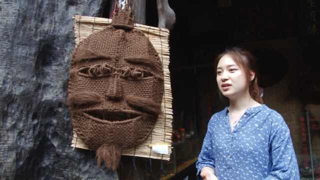 95后女孩学棕编傩面具,作品曾获奖