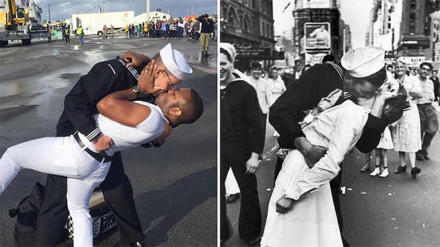 """美国海军同性情侣重现""""胜利之吻"""""""