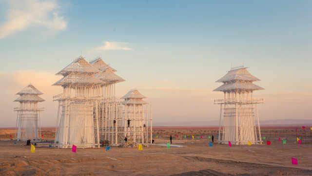 用延时记录戈壁滩上永远的海市蜃楼