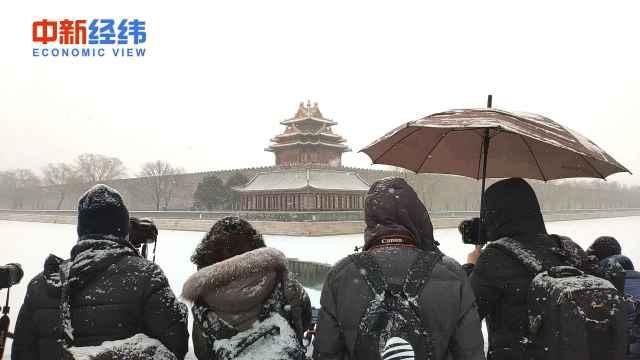 京城飘雪,游客:这一趟来值了