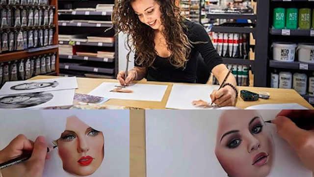 这位荷兰艺术家能用双手同时作画