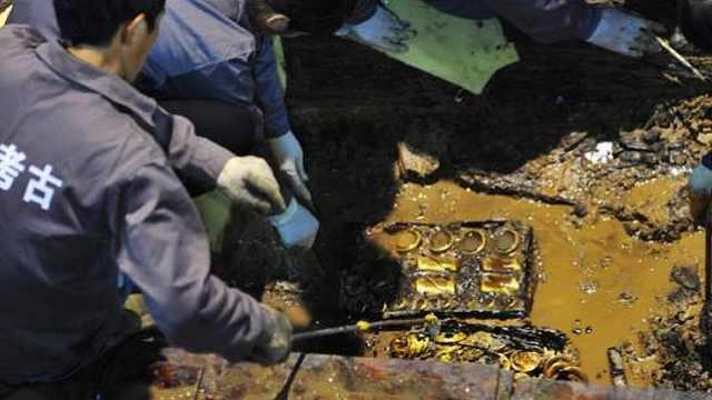 考古挖出汉朝巨额黄金现场