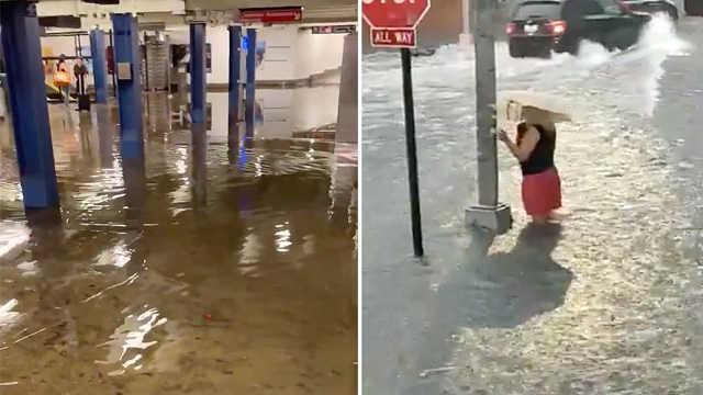 暴雨来袭,纽约地铁成了水帘洞!